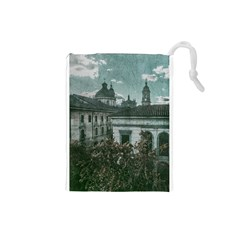 Colonial Architecture At Historic Center Of Bogota Colombia Drawstring Pouches (small)
