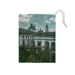 Colonial Architecture At Historic Center Of Bogota Colombia Drawstring Pouches (Medium)