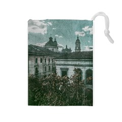Colonial Architecture At Historic Center Of Bogota Colombia Drawstring Pouches (Large)