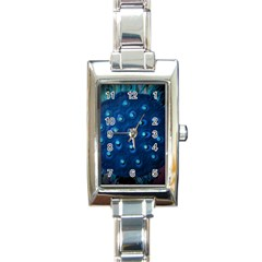 Blue Plant Rectangle Italian Charm Watches