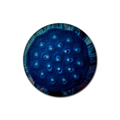Blue Plant Rubber Round Coaster (4 Pack)