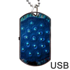Blue Plant Dog Tag USB Flash (One Side)