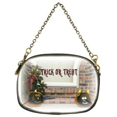 Black Ghoulish Pumpkins In White Matte Chain Purses (one Side)