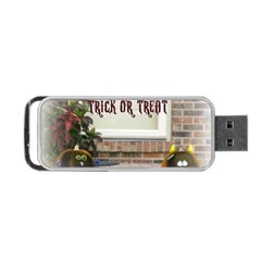 Black Ghoulish Pumpkins In White Matte Portable USB Flash (One Side)