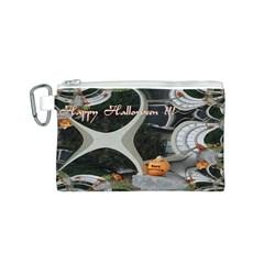 Creepy Pumpkin Fractal Canvas Cosmetic Bag (S)