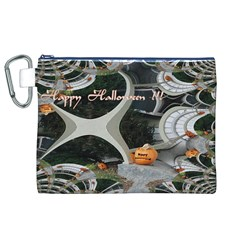 Creepy Pumpkin Fractal Canvas Cosmetic Bag (XL)