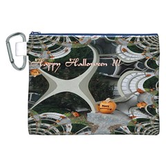 Creepy Pumpkin Fractal Canvas Cosmetic Bag (XXL)