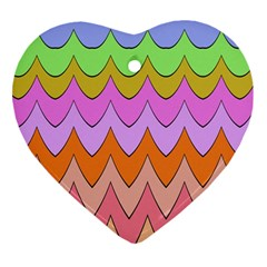 Pastel Waves Pattern Heart Ornament (two Sides)