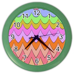 Pastel Waves Pattern Color Wall Clock