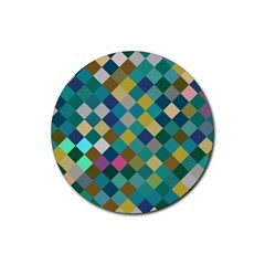 Rhombus Pattern In Retro Colors Rubber Coaster (round)