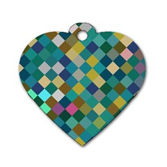 Rhombus Pattern In Retro Colors Dog Tag Heart (one Side)