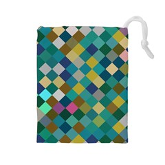 Rhombus pattern in retro colors Drawstring Pouch
