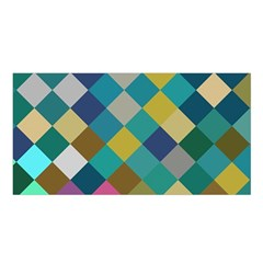 Rhombus pattern in retro colors Satin Shawl