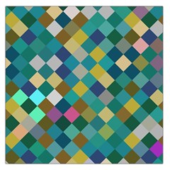Rhombus Pattern In Retro Colors Satin Scarf