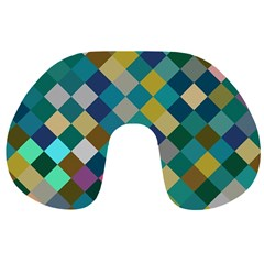 Rhombus pattern in retro colors Travel Neck Pillow