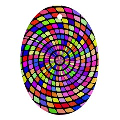 Colorful Whirlpool Oval Ornament (two Sides)