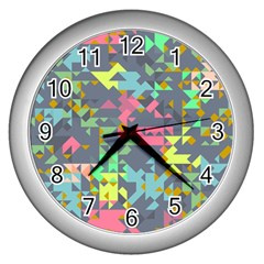 Pastel Scattered Pieces Wall Clock (silver)