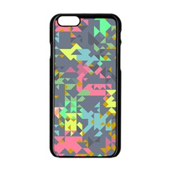 Pastel Scattered Pieces Apple Iphone 6 Black Enamel Case