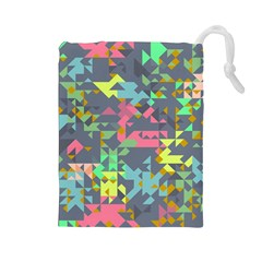 Pastel Scattered Pieces Drawstring Pouch