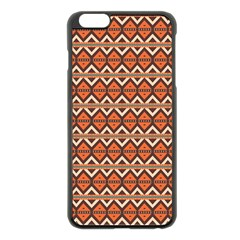 Brown orange rhombus pattern Apple iPhone 6 Plus Black Enamel Case