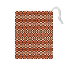 Brown Orange Rhombus Pattern Drawstring Pouch
