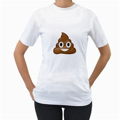 Poop Women s T Shirt (white) (two Sided)