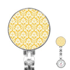 White On Sunny Yellow Damask Stainless Steel Nurses Watch