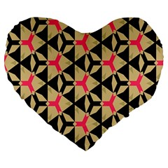Shapes In Triangles Pattern Large 19  Premium Heart Shape Cushion