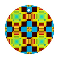 Abstract Yellow Flowers Round Ornament (two Sides)