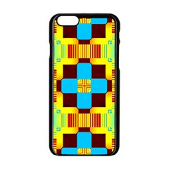 Abstract yellow flowers Apple iPhone 6 Black Enamel Case