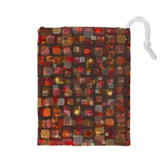 Floating squares Drawstring Pouch