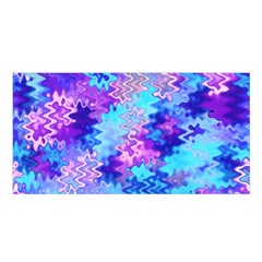 Blue and Purple Marble Waves Satin Shawl