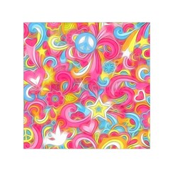 Hippy Peace Swirls Small Satin Scarf (Square)