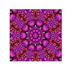 Pink Fractal Kaleidoscope  Small Satin Scarf (Square)