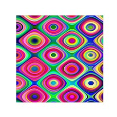Psychedelic Checker Board Small Satin Scarf (Square)
