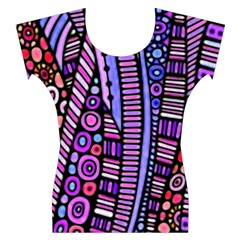 Stained glass tribal pattern Women s Cap Sleeve Top