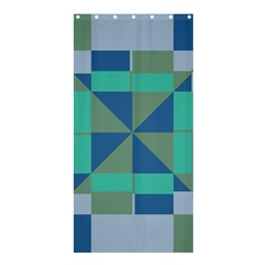 Green Blue Shapes	shower Curtain 36  X 72