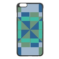 Green Blue Shapes Apple Iphone 6 Plus Black Enamel Case