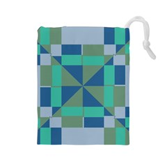 Green Blue Shapes Drawstring Pouch