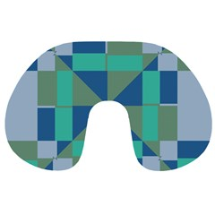 Green blue shapes Travel Neck Pillow