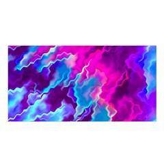 Stormy Pink Purple Teal Artwork Satin Shawl