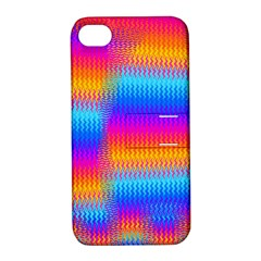 Psychedelic Rainbow Heat Waves Apple Iphone 4/4s Hardshell Case With Stand