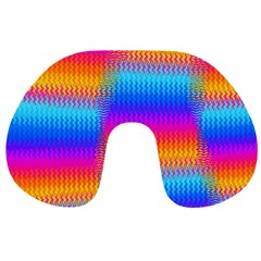 Psychedelic Rainbow Heat Waves Travel Neck Pillows