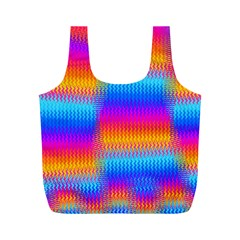 Psychedelic Rainbow Heat Waves Full Print Recycle Bags (m)