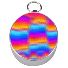 Psychedelic Rainbow Heat Waves Silver Compasses
