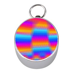Psychedelic Rainbow Heat Waves Mini Silver Compasses