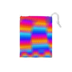 Psychedelic Rainbow Heat Waves Drawstring Pouches (small)