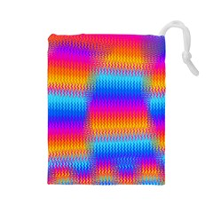 Psychedelic Rainbow Heat Waves Drawstring Pouches (Large)