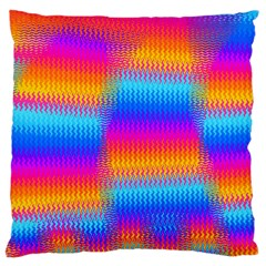 Psychedelic Rainbow Heat Waves Large Flano Cushion Cases (Two Sides)