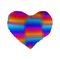 Psychedelic Rainbow Heat Waves Standard 16  Premium Flano Heart Shape Cushions